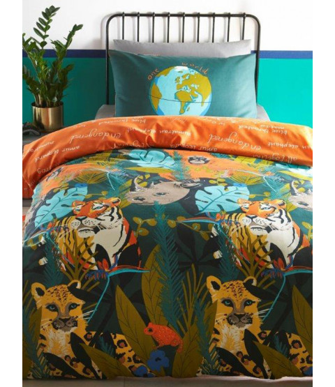 Endangered Animals Single Duvet Cover and Pillowcase Set