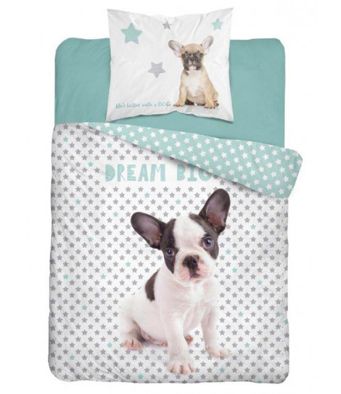 Dream Big Bulldog Single Cotton Duvet Cover Set