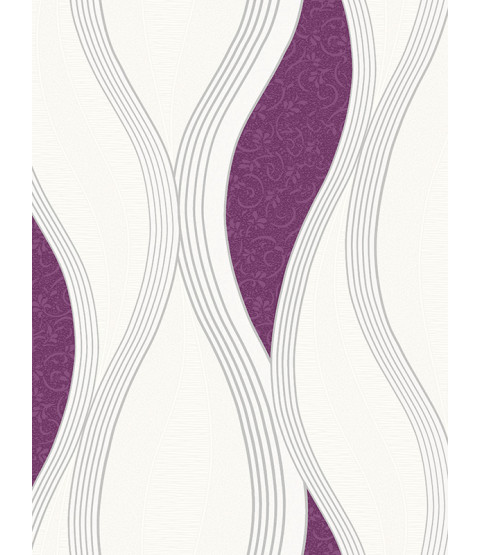 Wave Embossed Textured Wallpaper - Purple - E62006
