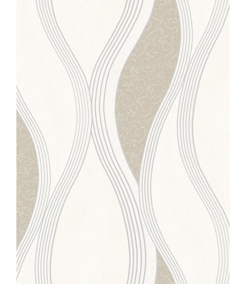 Wave Embossed Textured Wallpaper - Beige - E62007