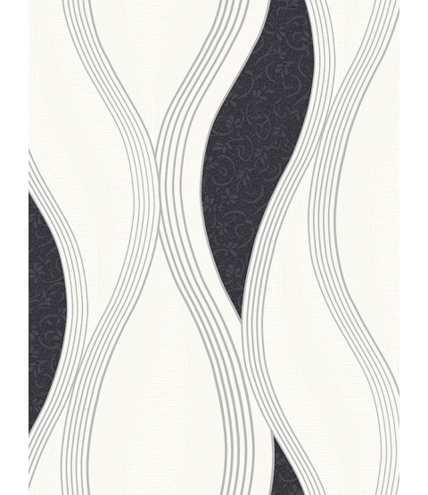 Wave Embossed Textured Wallpaper - Black - E62009