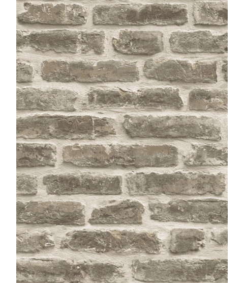 Rustic Brick Wallpaper - Pale Brown - J34407