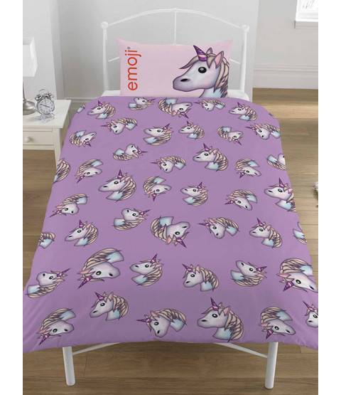Emoji Unicorn Single Reversible Duvet Cover Set