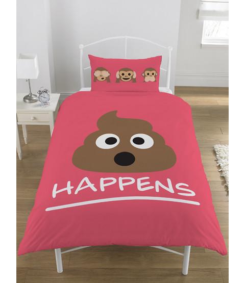 Emoji Mr Poo Single Reversible Duvet Cover Bedding Set - Pink