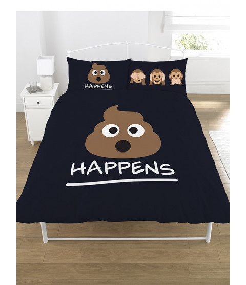 Emoji Icons Mr Poo Black Double Duvet Cover and Pillowcase Set