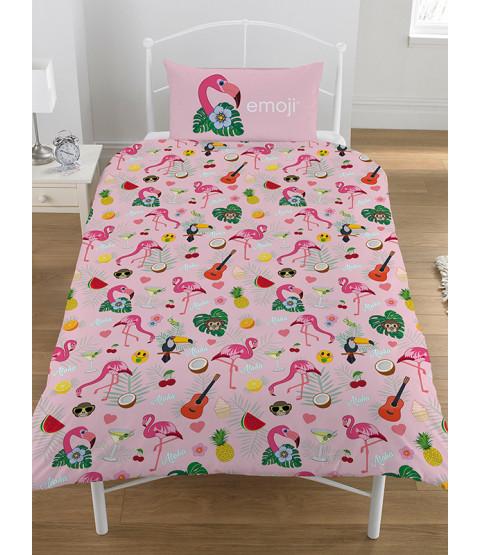 Emoji Flamingo Reversible Single Duvet Cover Bedding Set
