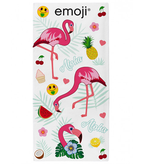Emoji Flamingos Beach Towel