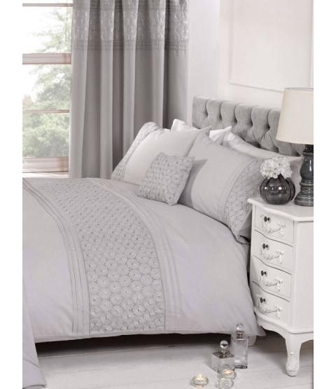 Everdean Floral Grey Double Duvet Cover and Pillowcase Set