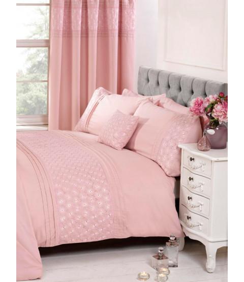 Everdean Floral Blush Pink King Size Funda nórdica y juego de funda de almohada