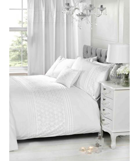 Everdean Floral White Super King Duvet Cover and Pillowcase Set