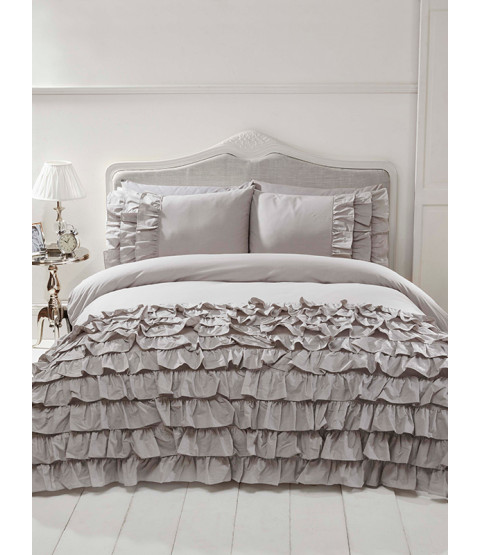 Flamenco Ruffle Grey Double Duvet Cover and Pillowcase Set