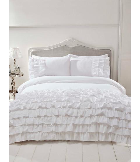 Flamenco Ruffle White Double Duvet Cover and Pillowcase Set