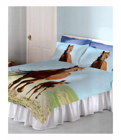 Follow My Lead Horse & Foal Double Duvet Cover and Pillowcase Set