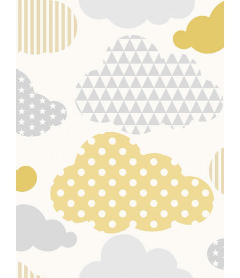 Clouds Wallpaper Yellow / Grey Graham & Brown 108267