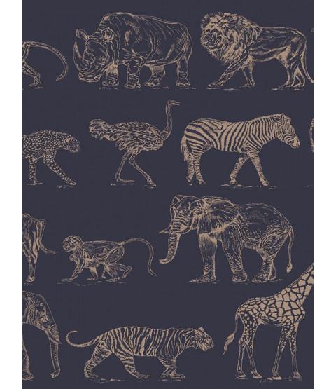Boutique Safari Animals Wallpaper Navy Blue / Rose Gold Graham & Brown 104893
