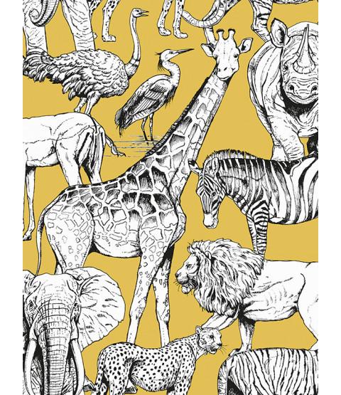 Papier peint Animaux de la jungle Jaune Graham & Brown 107691
