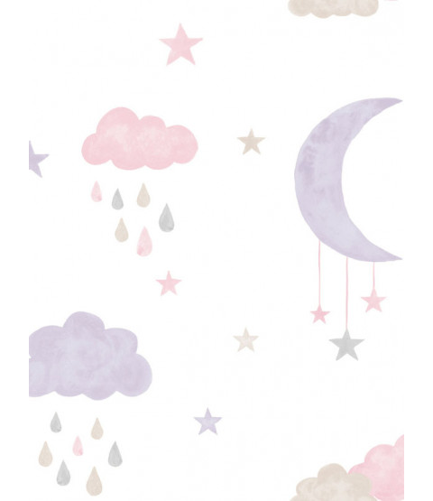 Little Ones Eco Clouds and Moon Wallpaper Pink GranDeco LO2002
