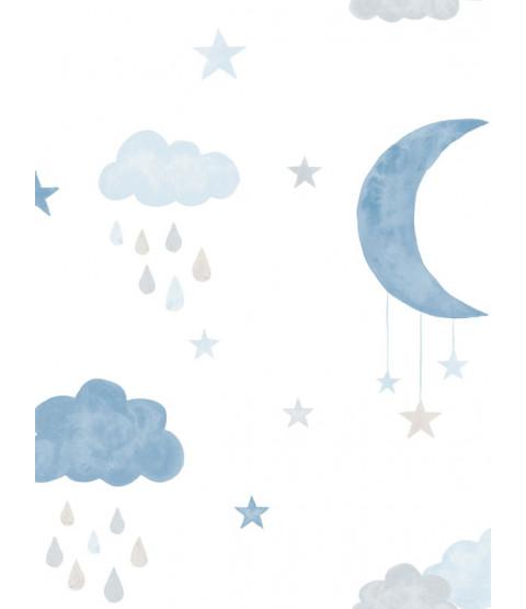 Papier peint Eco Les Petits et La Lune Bleu GranDeco LO2003