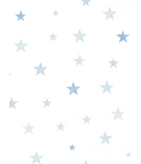 Little Ones Eco Stars Wallpaper Blue GranDeco LO2704