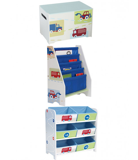 Boys Vehicles Bedroom Furniture Storage Set