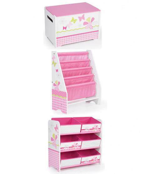 Girls Pink Patchwork Bedroom Furniture Storage Set