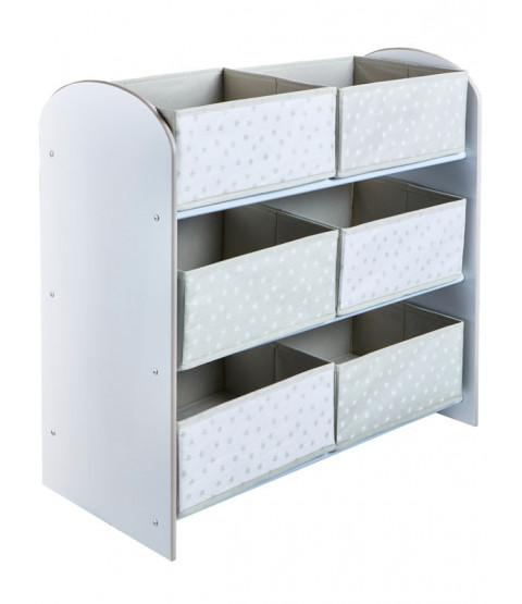 Grey and White Stars 6 Bin Storage Unit