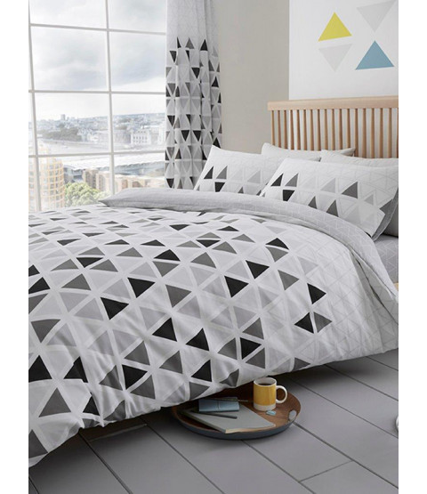 Geometric Triangle Double Duvet Cover and Pillowcase Set - Grey
