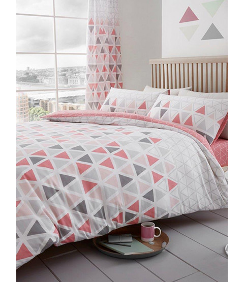 Geometric Triangle Single Duvet Cover and Pillowcase Set - Pink