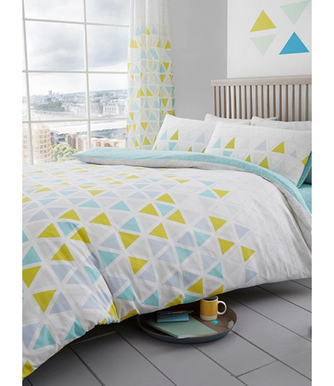 Geometric Triangle Double Duvet Cover and Pillowcase Set - Teal