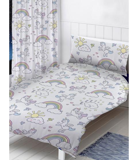 Pastel Unicorns Single Duvet Cover and Pillowcase Set