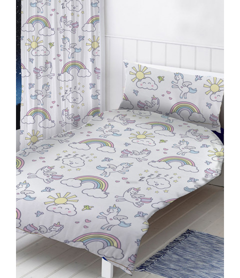 Pastel Unicorns 4 in 1 Junior Bedding Bundle Set (Duvet, Pillow and Covers)