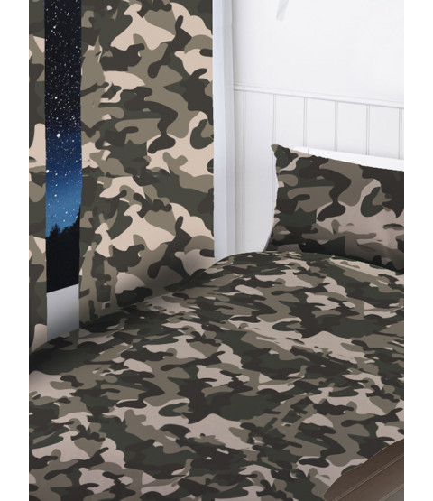 Grey Camouflage Curtains 54 Inch Drop