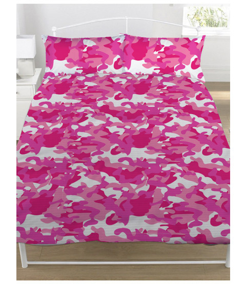 Pink Camouflage Double Duvet Cover and Pillowcase Set