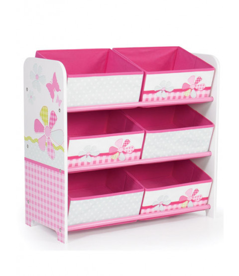 Girls Pink Patchwork 6 Bin Storage