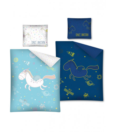 Ensemble de housse de couette en coton Single Unicorn de Space Glow in the Dark