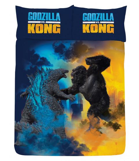 Godzilla Vs Kong Double Duvet Cover and Pillowcase Set