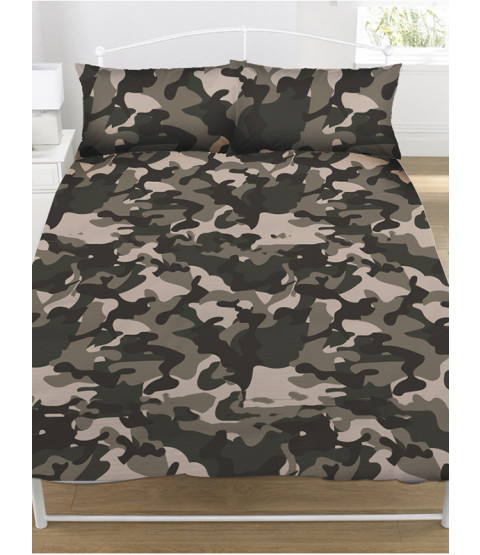 Grey Camouflage Double Duvet Cover and Pillowcase Set