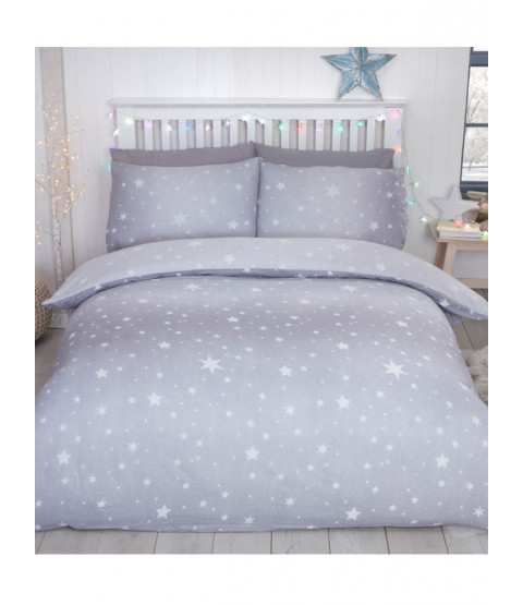 Starburst Brushed Cotton King Size Duvet Cover Set - Grey
