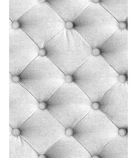 Diamond Chesterfield Linen Headboard Style Wallpaper Grey  - J226-19