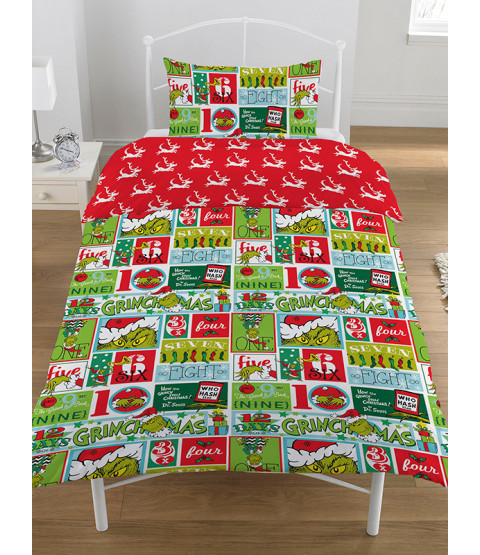The Grinch 12 Days of Christmas Single Duvet Cover Bedding Set