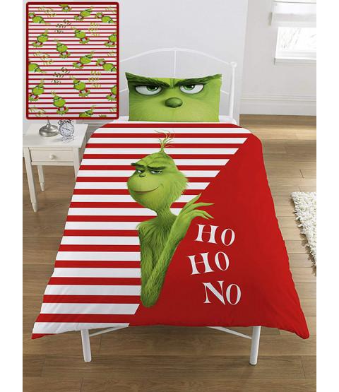 The Grinch Movie Ho Ho No Single Duvet Cover and Pillowcase Set