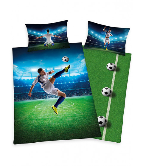 Football Bicycle Kick Single Duvet Cover and Pillowcase Set