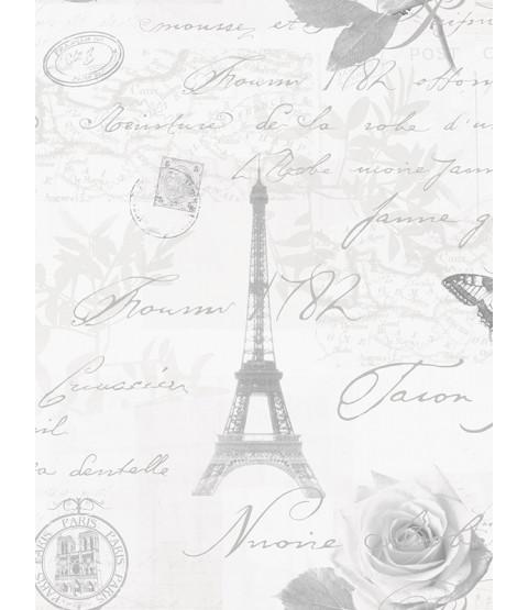 Calligraphy Paris Postcard Wallpaper Grey - 97752 Holden