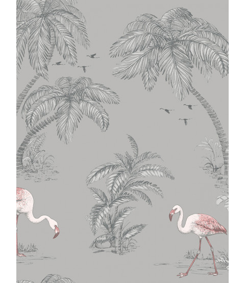 Holden Papier peint Flamingo Lake - Gris 12381