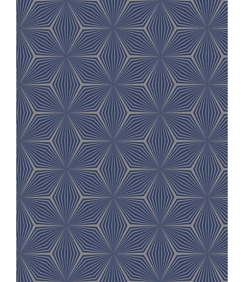 Geometric Star Wallpaper Silver / Blue Holden 12617