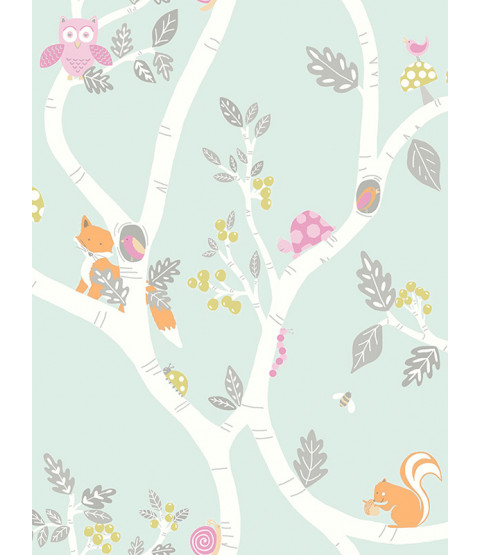 Woodland Adventure Wallpaper Soft Teal Holden 12490