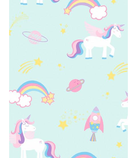 Sfondo di Unicorni e Razzi Over the Rainbow Teal Holden 90962