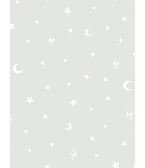 Over the Rainbow Stars and Moons Glow in the Dark Wallpaper Grey Holden 90980