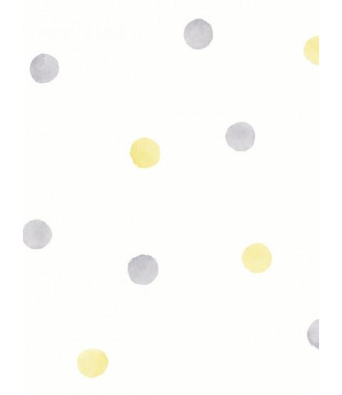 Sfondo Over the Rainbow Acquerello Polka Dots Grigio / Giallo Holden 91002