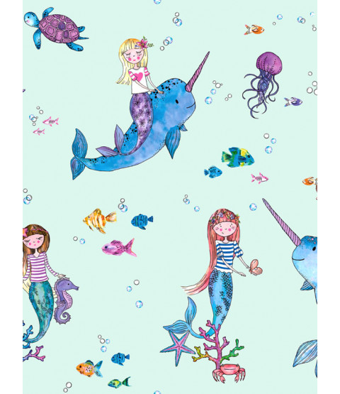 Over the Rainbow Narwhals and Mermaids Wallpaper Light Teal Holden 91011